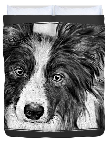 Border Collie Stare Duvet Cover