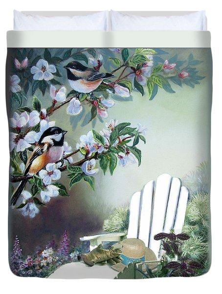 Chickadees In Blossom Tree Duvet Cover by Regina Femrite