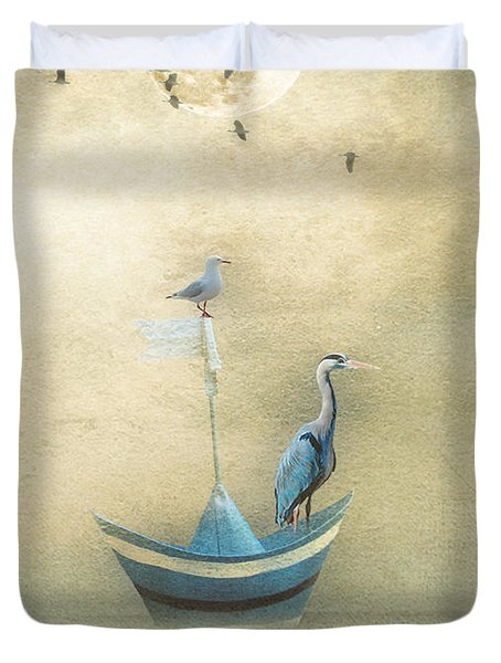 Sailing By The Moon Duvet Cover