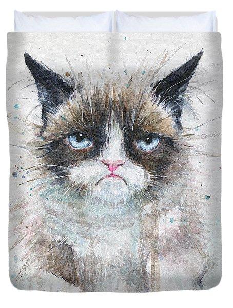 Grumpy Cat Watercolor Painting  Duvet Cover by Olga Shvartsur