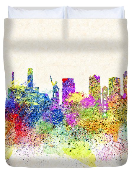Birmingham Alabama Skyline Art Duvet Cover by Mark E Tisdale