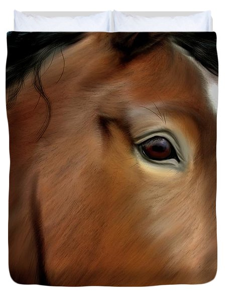 Horse Portrait Close Up Duvet Cover