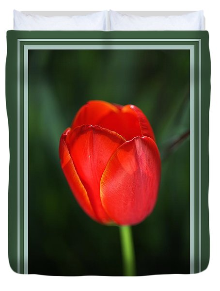 Tulip Red With A Hint Of Yellow Duvet Cover