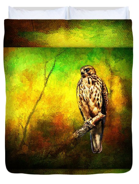 Hawk On Branch Duvet Cover
