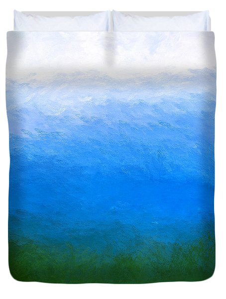 Duvet Cover featuring the painting The Sea Is Deep by Mark E Tisdale