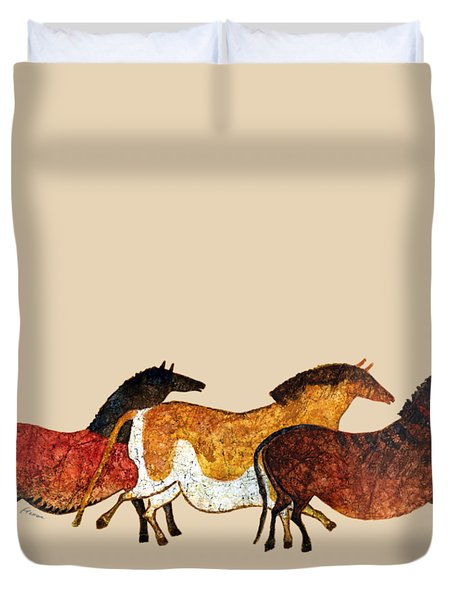 Cave Horses In Beige Duvet Cover