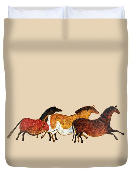 Duvet Cover featuring the painting Cave Horses In Beige by Hailey E Herrera