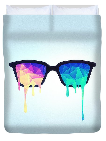 Psychedelic Nerd Glasses With Melting Lsd Trippy Color Triangles Duvet Cover