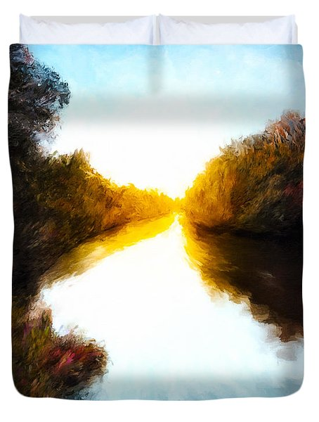 Duvet Cover featuring the painting Autumn Daydream by Mark E Tisdale