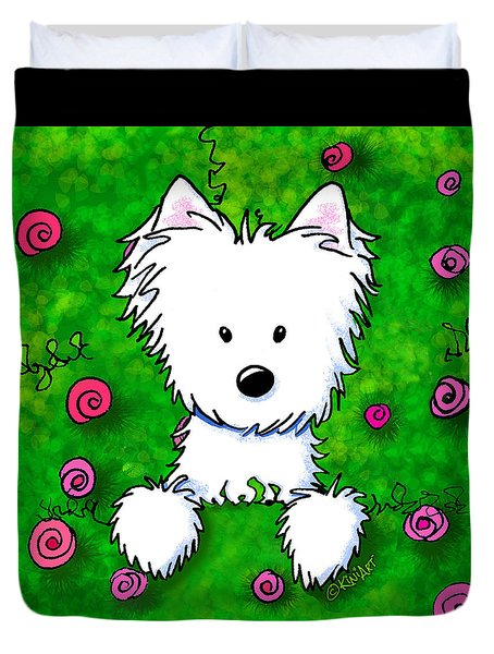 Westie In Roses Duvet Cover