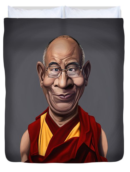 Celebrity Sunday - Dalai Lama Duvet Cover by Rob Snow
