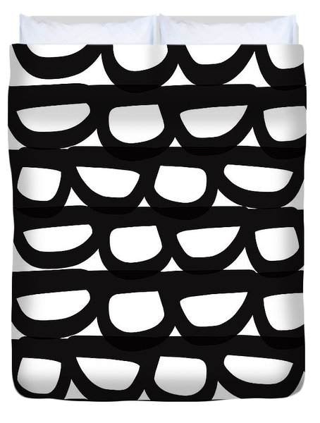 Black And White Pebbles- Art By Linda Woods Duvet Cover by Linda Woods