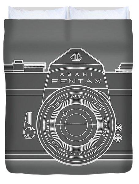Asahi Pentax 35mm Analog Slr Camera Line Art Graphic White Outline Duvet Cover by Monkey Crisis On Mars
