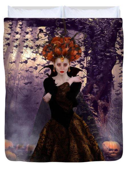 Duvet Cover featuring the digital art Pumpkin Witch by Shanina Conway