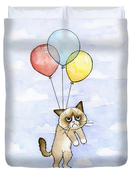 Grumpy Cat And Balloons Duvet Cover