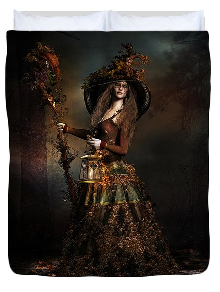 Duvet Cover featuring the digital art The Wood Witch by Shanina Conway