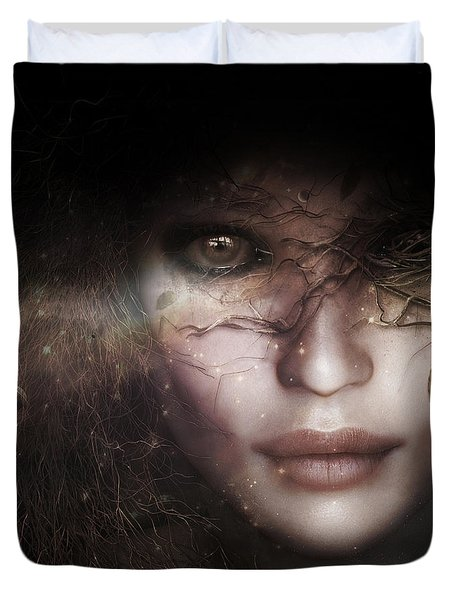 Duvet Cover featuring the digital art Gaia Goddess by Shanina Conway