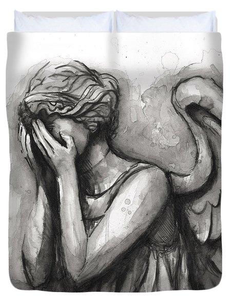 Weeping Angel Watercolor Duvet Cover