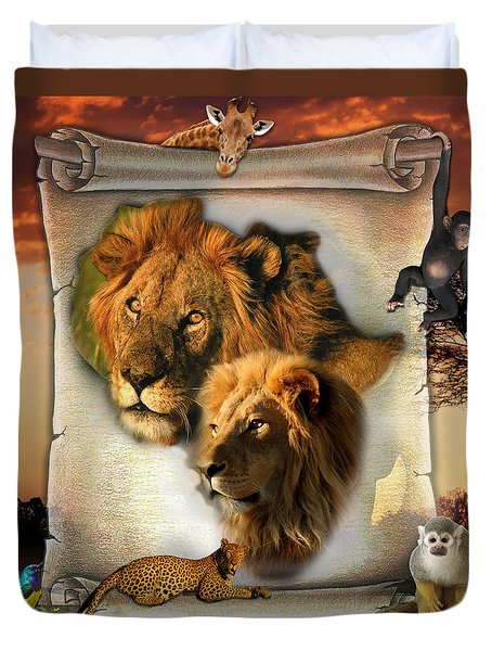 The Lion King From Africa Duvet Cover by Nadine May