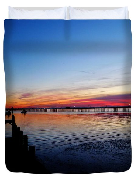 Sunset On The Shore Of Southend Duvet Cover