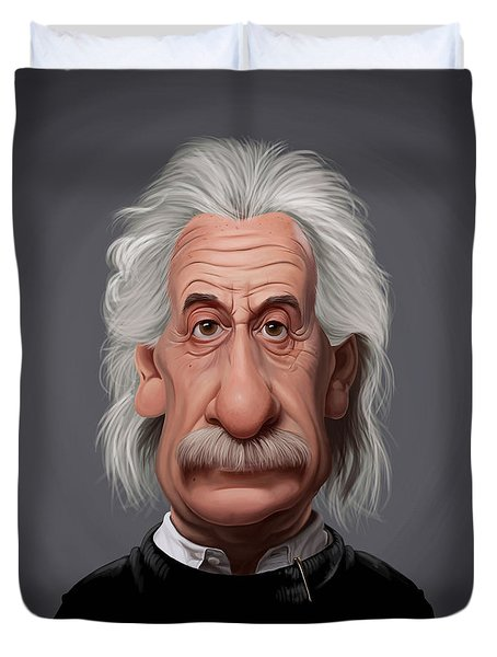 Celebrity Sunday - Albert Einstein Duvet Cover by Rob Snow