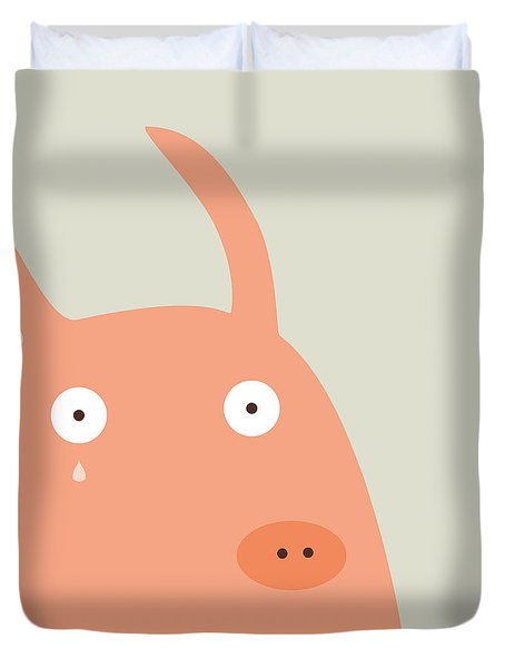 Pigs And Bunnies Duvet Cover by Fuzzorama