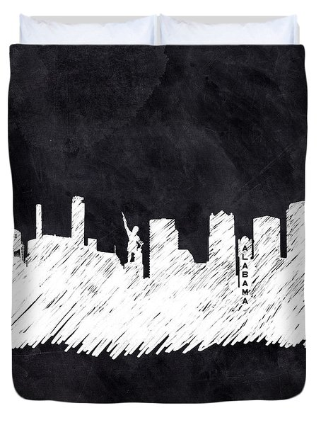 Duvet Cover featuring the mixed media The Skyline - Birmingham - Alabama by Mark Tisdale