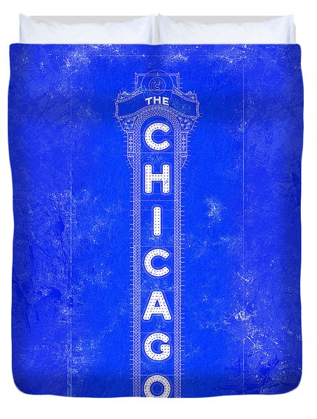 Duvet Cover featuring the digital art Chicago Theatre Sign - Blueprint by Mark Tisdale