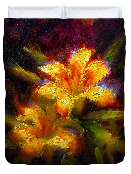 Duvet Cover featuring the painting Daylily Sunshine - Colorful Tiger Lily/orange Day-lily Floral Still Life  by Karen Whitworth