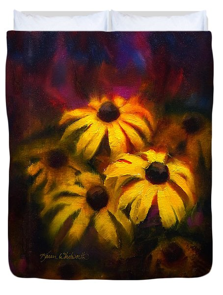 Duvet Cover featuring the painting Black Eyed Susans - Vibrant Flowers by Karen Whitworth