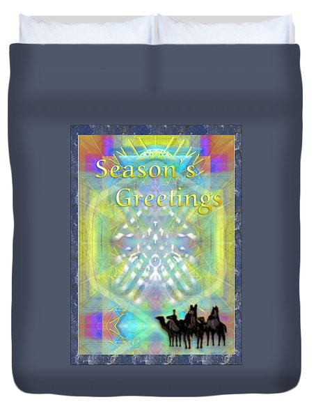 Duvet Cover featuring the digital art Bright Chalice Tree N 3 Kings by Christopher Pringer