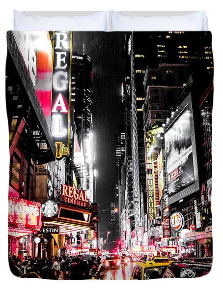 Duvet Cover featuring the photograph New York City Night II by Nicklas Gustafsson
