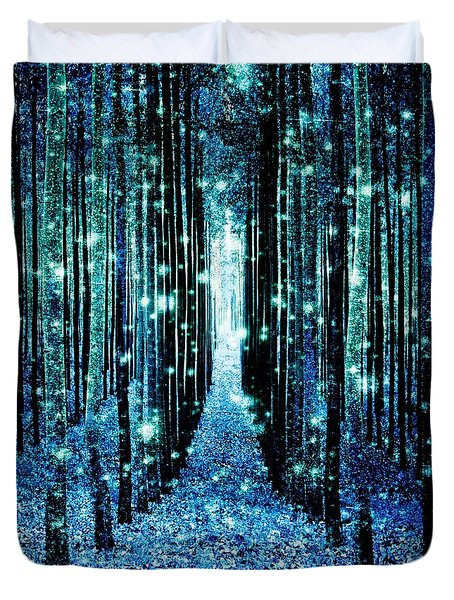 Magical Forest Teal Blue Duvet Cover