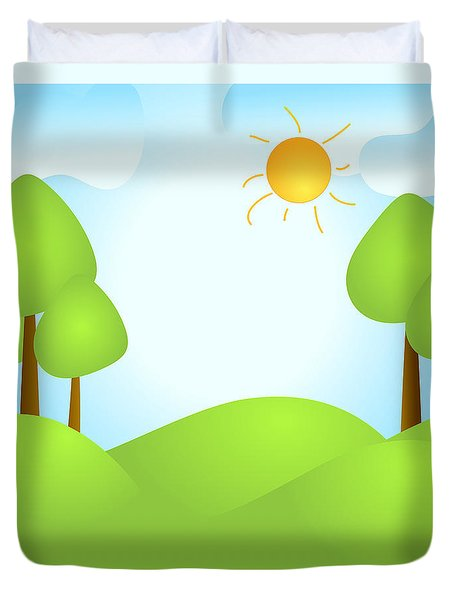 Playful Kid's Spring Backdrop Duvet Cover