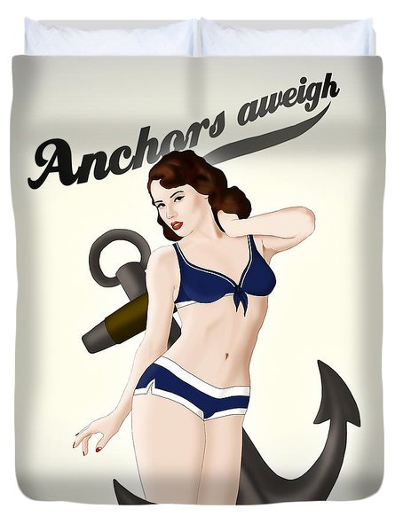 Duvet Cover featuring the drawing Anchors Aweigh - Classic Pin Up by Nicklas Gustafsson