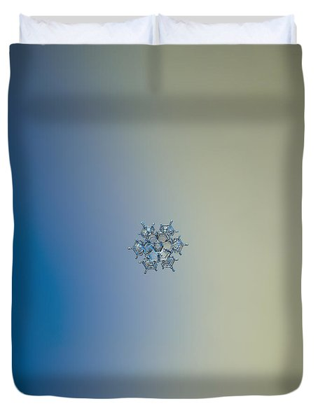 Duvet Cover featuring the photograph Snowflake Photo - Flying Castle Alternate by Alexey Kljatov