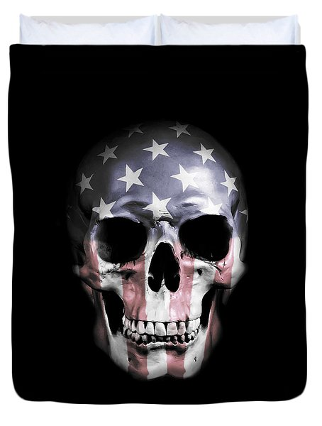 Duvet Cover featuring the digital art American Skull by Nicklas Gustafsson