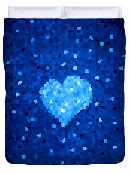 Winter Blue Crystal Heart Duvet Cover