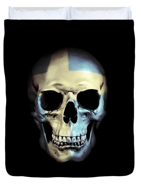 Duvet Cover featuring the digital art Swedish Skull by Nicklas Gustafsson