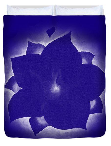 Fleur Et Coeurs Monochrome Duvet Cover
