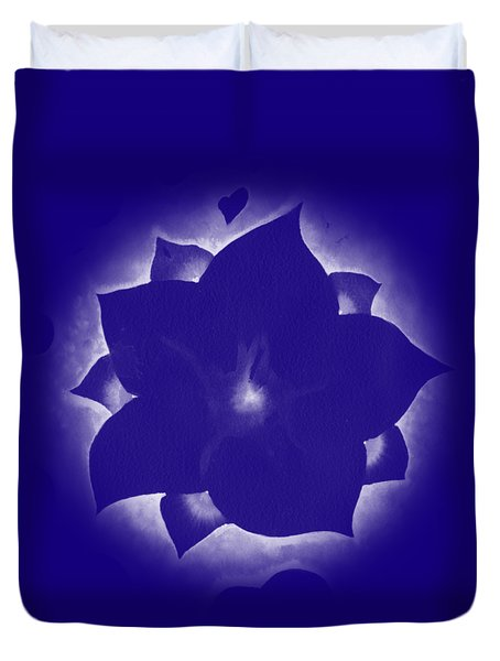 Duvet Cover featuring the painting Fleur Et Coeurs Monochrome by Marc Philippe Joly