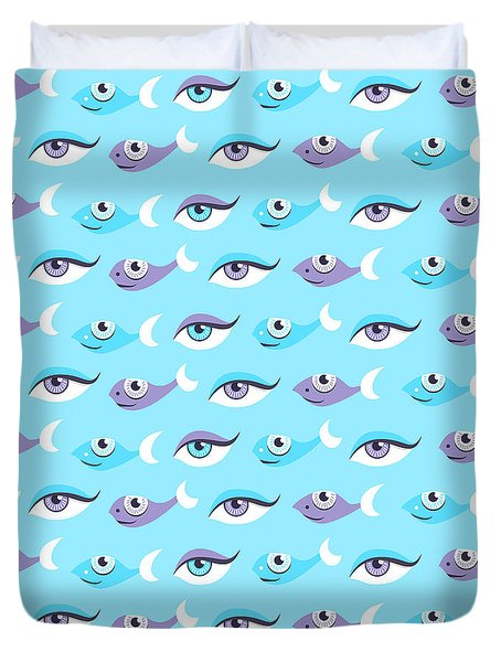 Pattern Of Blue Eyes And Fish In Sea Duvet Cover