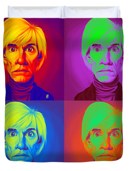 Andy Warhol On Andy Warhol Duvet Cover by Rob Snow