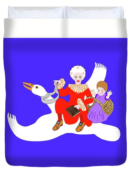Mother Goose On Her Flying Goose Duvet Cover