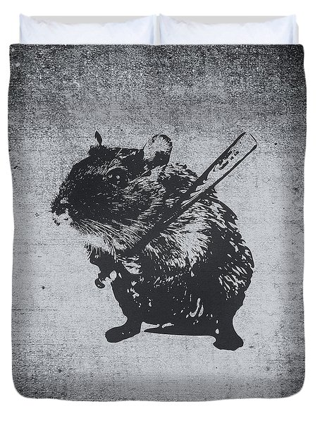 Angry Street Art Mouse  Hamster Baseball Edit  Duvet Cover by Philipp Rietz