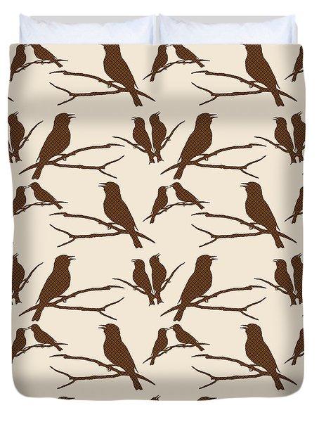 Rustic Brown Bird Silhouette Duvet Cover