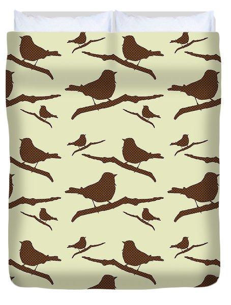 Brown Bird Silhouette Modern Bird Art Duvet Cover