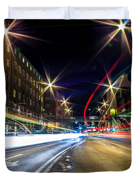 Duvet Cover featuring the photograph Light Trails 2 by Nicklas Gustafsson