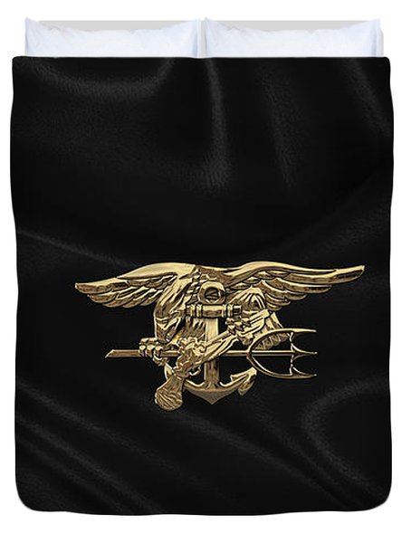 U.s. Navy Seals Trident Over Black Flag Duvet Cover