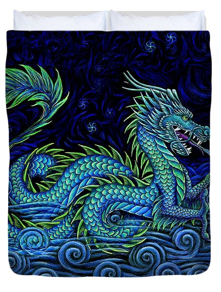 Chinese Azure Dragon Duvet Cover by Rebecca Wang